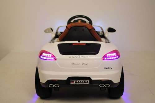 Детский электромобиль А444АА белый (кожа-EVA)