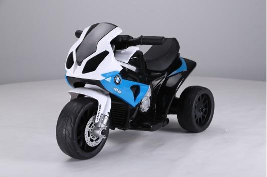 Детский электромотоцикл JT5188 синий (кожа)
